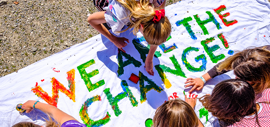 children protesting against climate change